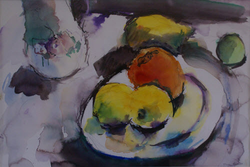 Persimmon and Lemons by Pauline Rignall